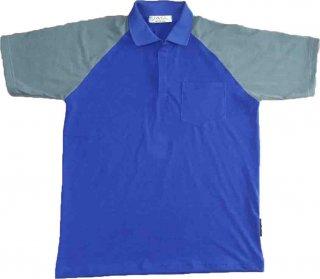 แบบเสื้อโปโลสีน้ำเงินแขนเสื้อเทา
