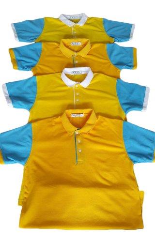 แบบเสื้อโปโลสีเหลืองปกฟ้า