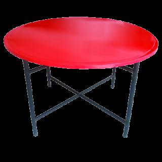 โต๊ะพับเหล็กกลม 25 มม. ขาเหล็กพ่นสีฝุ่น