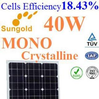 แผงโซล่าเซลล์ Mono Crystalline 40W