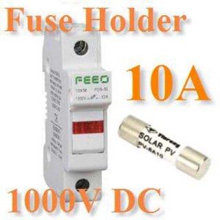 ฟิวส์DC 10A 1000V พร้อมกล่องฟิวส์ 10x38