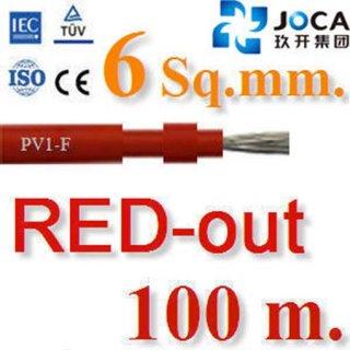 สายไฟโซล่าเซลล์ DC PV1-F 6.0 mm2 สีแดง 100 เมตร