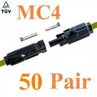 ข้อต่อสายไฟ MC4 50 คู่