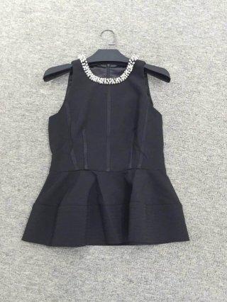 เสื้อ Top งานไฮโโซ ปักคอเพชร 2 สี ขาวดำ