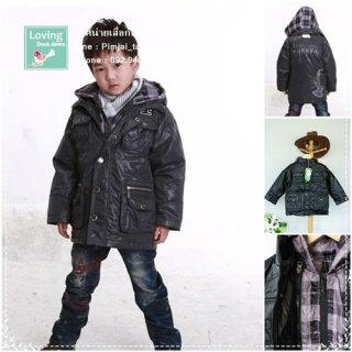 เสื้อกันหนาวขนเป็ดสำหรับเด็กเล็ก สีดำ มีหมวก