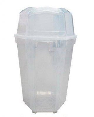 ถังขยะใสทรงหกเหลี่ยม พร้อมฝา 3 ช่องทิ้ง 120 ลิตร