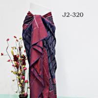 ผ้าไหมทอยกดอกพริกไทย ลายหัวแหวน พื้นสีคราม หน้านางใหม่ หัว-เชิง แดง
