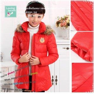 เสื้อกันหนาวขนเป็ดสำหรับเด็กเล็กสีแดง