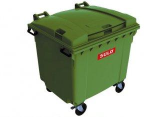 ถังขยะเทศบาล พร้อมล้อเข็น 1100 ลิตร ฝาเรียบ สีเขีย