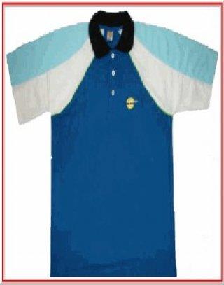 แบบเสื้อโปโลสีน้ำเงินแขนเสื้อคละสี