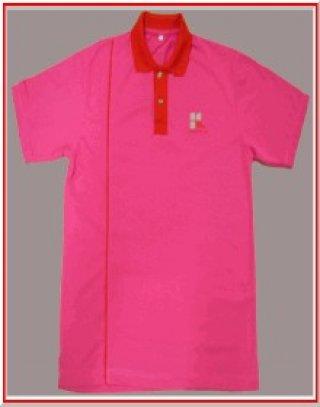 แบบเสื้อโปโลสีชมพูแถบแดง