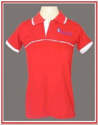 แบบเสื้อโปโลสีแดงแถบขาว