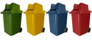 ถังขยะใหญ่พร้อมล้อเข็น 190 ลิตรฝา2ช่องทิ้ง