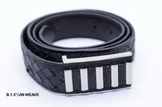 Black Leather Belt B13 JW WEAVE