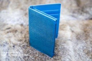 กระเป๋าหนังใส่บัตรสีฟ้า