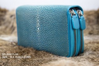 กระเป๋าเงินหนังใบเล็กสีฟ้า