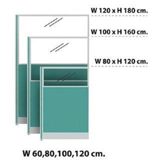 พาร์ติชั่นแบบครึ่งทึบครึ่งกระจกใส 80x160 เขียวอ่อน