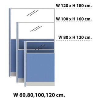 พาร์ติชั่นแบบครึ่งทึบ/กระจกใส 100x160 สีฟ้าอ่อน