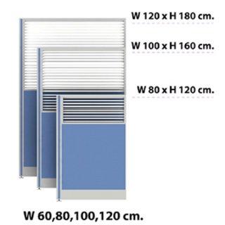 พาร์ติชั่นครึ่งทึบ/กระจกขัดลาย 120x180 สีฟ้าอ่อน