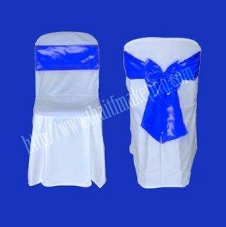 ผ้าคลุมเก้าอี้พลาสติกโบว์สีน้ำเงิน