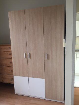 ตู้เสื้อผ้า 3 บานเปิด สีบีทขาว