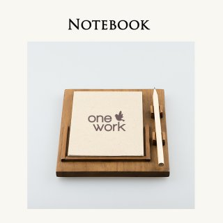 Notebook and Wooden Tray