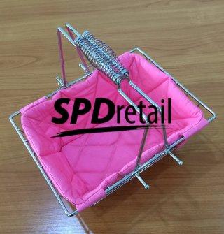 ตะกร้าหูสปริงใบเล็กบุผ้านิ่ม สีชมพู