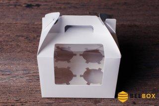 กล่องคัพเค้ก 4 ชิ้น พร้อมฐาน แบบหูหิ้ว