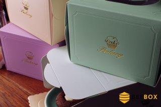 กล่องเค้ก 1 ปอนด์ สีส้มพาสเทล พร้อมฐานรอง