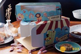 กล่องเค้ก 1 ปอนด์ ลายการ์ตูน พร้อมฐาน
