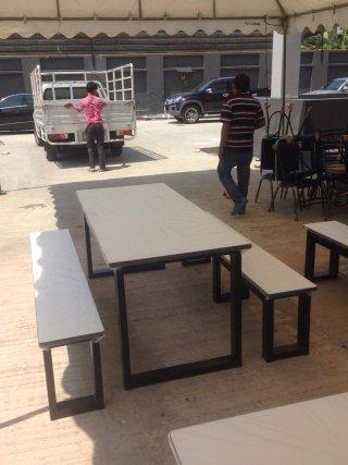 โต๊ะโรงอาหาร ขาโอ เหล็ก 1 5x3 นิ้ว