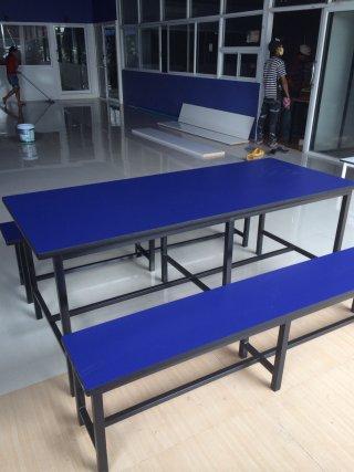 โต๊ะโรงอาหาร ขาเหลี่ยมลามิเนตสี