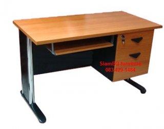 โต๊ะคอมเมลามีน มี 2 ลิ้นชัก