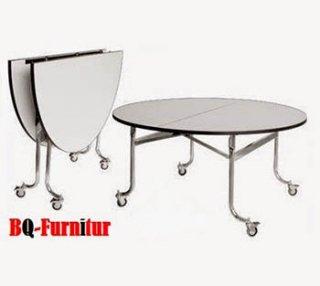 โต๊ะพับหน้ากลม หน้าโฟเมก้าขาว มีล้อ ล็อคได้