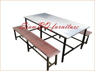 ชุดโต๊ะโรงอาหาร หน้าโฟเมก้าขาว ม้านั่งไม้ระแนง