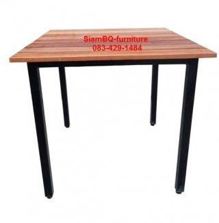 โต๊ะอาหารไม้เต็ง ขาเหล็ก 1.2 นิ้ว
