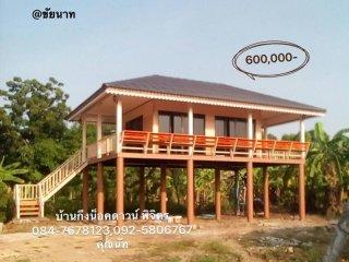 บ้านกึ่งน็อคดาวน์ทรงปั้นหยา พื้นที่ 60 ตารางเมตร