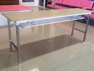 โต๊ะพับมีตะแกรง สีลายไม้