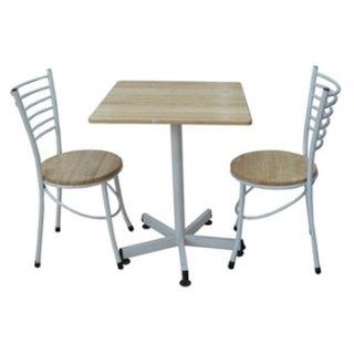 โต๊ะคาเฟ่พร้อมเก้าอี้ ขาพ่นสีดำหรือสีขาว