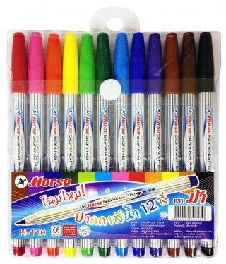 ปากกาเมจิก ตราม้า H 110 ชุด 12 สี