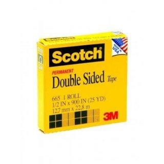 เทปใสกาวสองหน้าแกน 1 นิ้ว Scotch 665 1/2นิ้วx25หลา