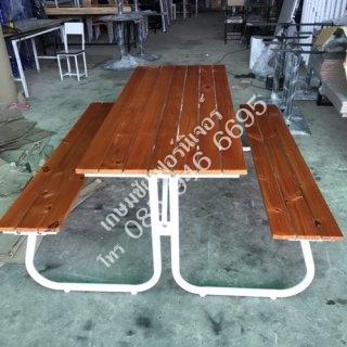 โต๊ะโรงอาหารไม้ระแนง ขากลม