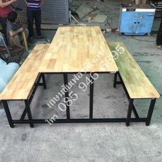 โต๊ะโรงอาหาร ไม้ยางพารา เหล็ก 1.5x1.5 นิ้ว