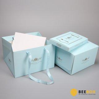 กล่องเค้ก 4 ปอนด์ พร้อมฐาน+ถุงกระดาษ สีฟ้าพาสเทล
