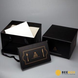 กล่องเค้ก 1 ปอนด์ พร้อมฐาน+ถุงกระดาษ สีดำเรียบหรู
