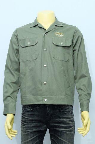 เสื้อช็อปแขนยาว สีเขียวมะกอกเข้ม