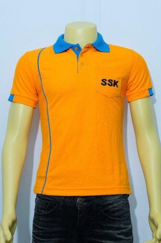 เสื้อโปโลสีส้ม ปักลาย