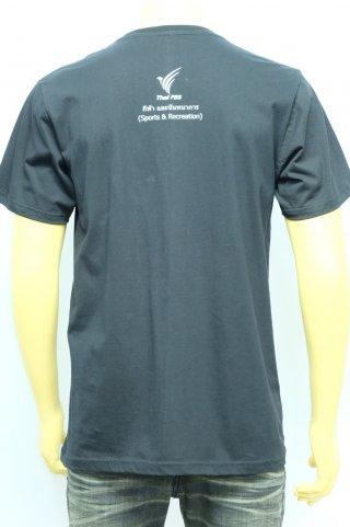 เสื้อยืดคอกลมสีดำ สกรีนลาย