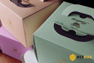 กล่องเค้ก 4 ปอนด์ สีโอรส พร้อมฐานรอง