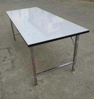 โต๊ะพับหน้าฟอเมก้าขาว หนา 25 มิล ชุปโครเมียม